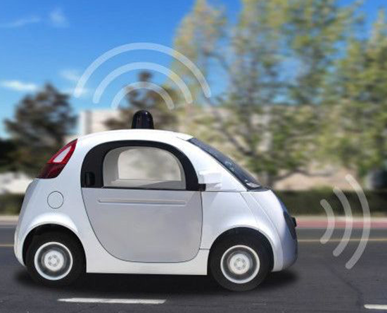 Illustration of smart car with wifi signals