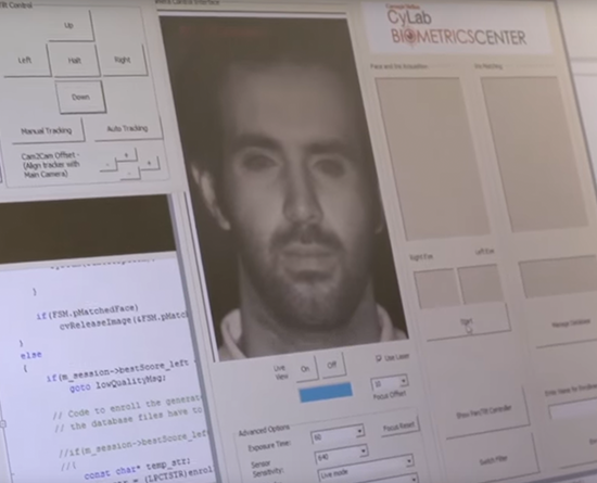Screenshot of facial recognition software